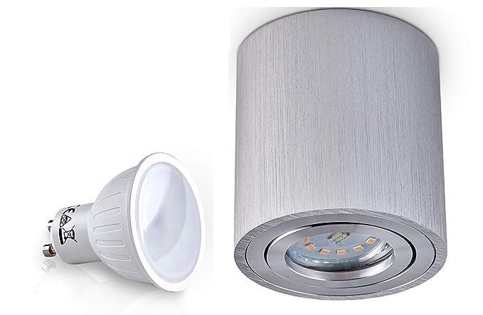 Palermo – Lámpara de techo, foco led de 7 W SMD, forma de cubo, luz cenital (plata, redondo, 7 W)