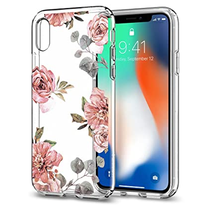 on sale 0c387 8acfb Spigen Liquid Crystal with Slim Protection and Premium Clarity Works with  iPhone Xs Case (2018) / iPhone X Case (2017) - Aquarelle Rose