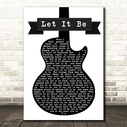 The Beatles Let It Be - Letra, diseño de guitarra, color blanco y ...
