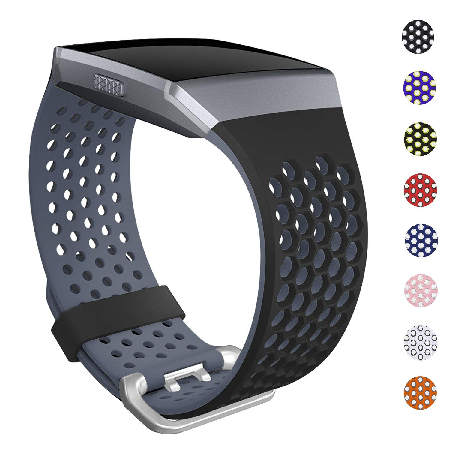 SKYLET Bands Compatible with Fitbit Ionic, Soft Silicone Breathable Replacement Wristband Compatible with Fitbit Ionic Smart Watch with Buckle ...