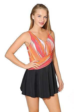 11284c13f27 Saejous Women s Retro Plus Size Color Block Modest One Piece Skirt  Swimdress Swimwear Orange