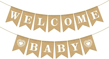 Amazon Com Jute Burlap Welcome Baby Banner Baby Shower Gender Reveal Boy Girl Party Decoration Health Personal Care