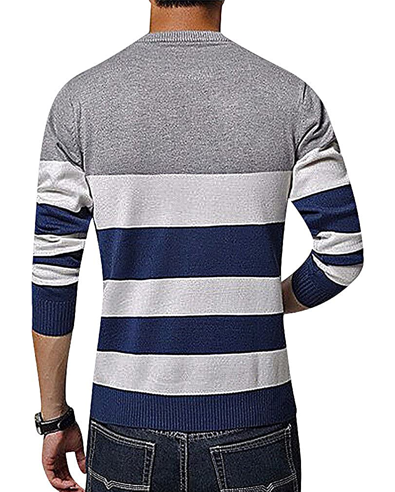 BAMan Men 3 Color Stripe Slim Round Neck Ribbed Cuff Machine Knit Sweater