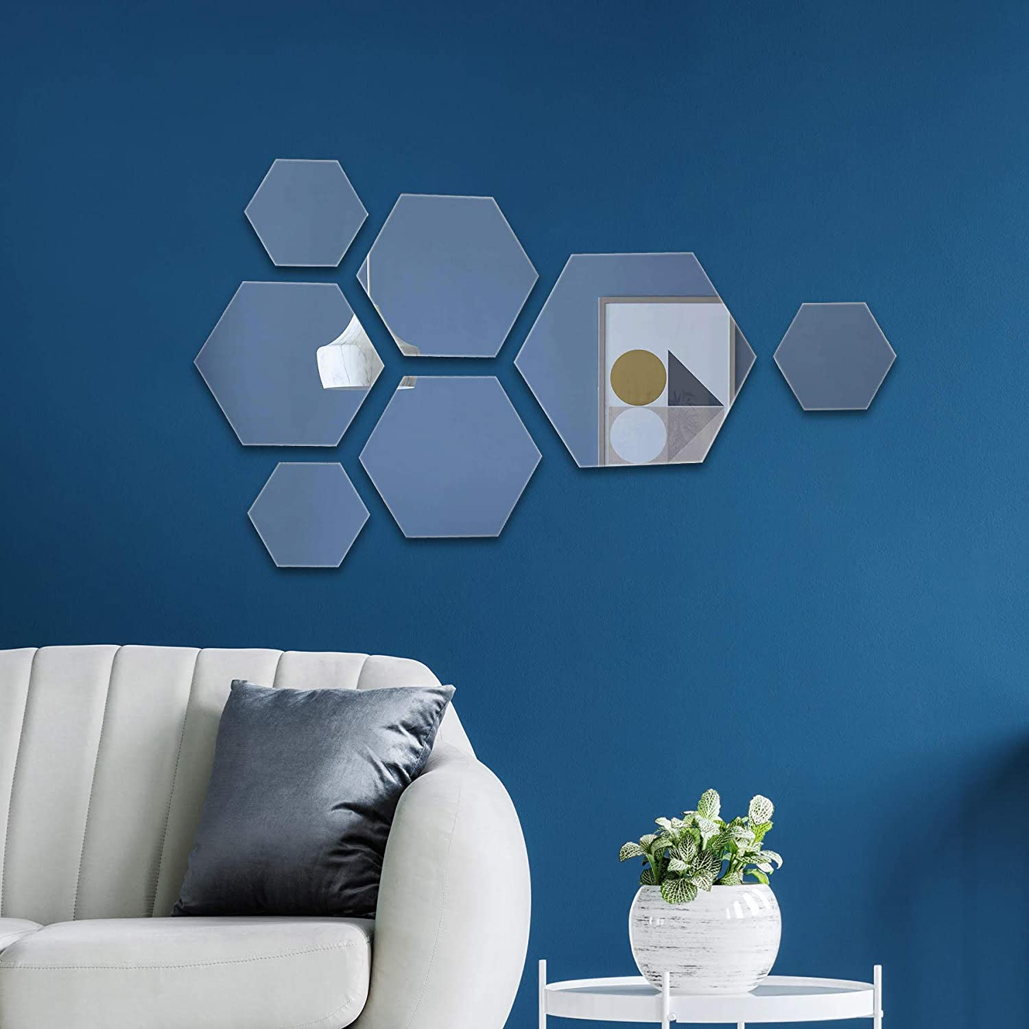 """PARNOO Hexagon Mirror Wall Mounted Assorted Sizes (1x10"""", 3x7"""", 3x4"""") Set of 7 Hexagonal Glass Mirrors Decoration for Living Room, Bedroom, Bathroom or Statement Wall."""