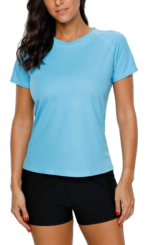 Aqua Anwell Women's ShortSleeve Rashguard V Neck Top Sun Predection Swim Shirts
