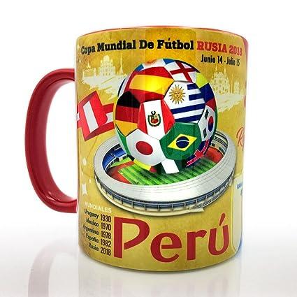 f47114baf Amazon.com  Gio Gifts Peru The Road To The Soccer Futbol World Cup Russia  2018 Souvenir Coffee Mug  Kitchen   Dining
