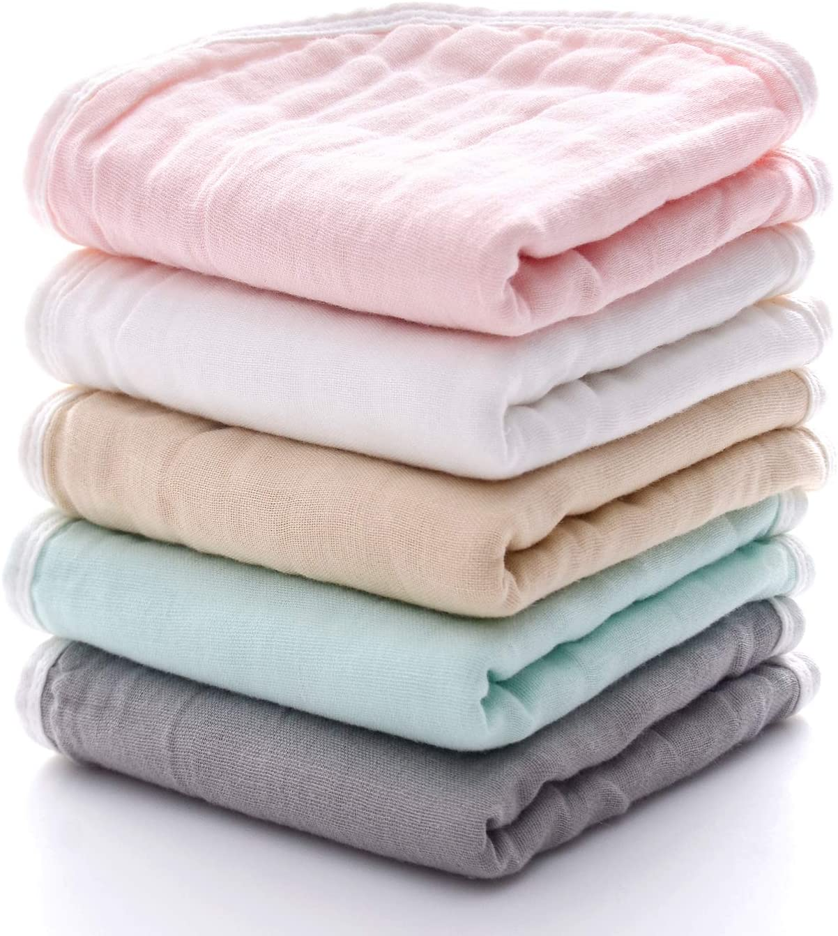 Baby Shower Gift for Boys and Girls Baby Burp Cloth Sets for Unisex MUKIN Muslin Burp Cloths Perfect for Newborn Baby Burping Cloths//Burp Bibs Newborn Burping Rags?5 Pack?Multicolored?