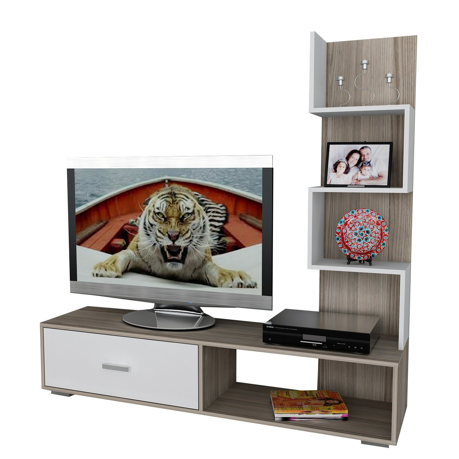 Akay Asir Group Llc Wooden Art Gerat Tv Cordoba Weiss Amazon Fr  # Meuble Tv Wooden Art