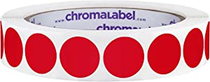 ChromaLabel 3/4 Inch Round Permanent Color-Code Dot Stickers, 1000 per Roll, Red
