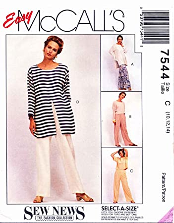 Amazon Mccalls Sewing Pattern 7544 Misses Size 12 16 Easy Sew