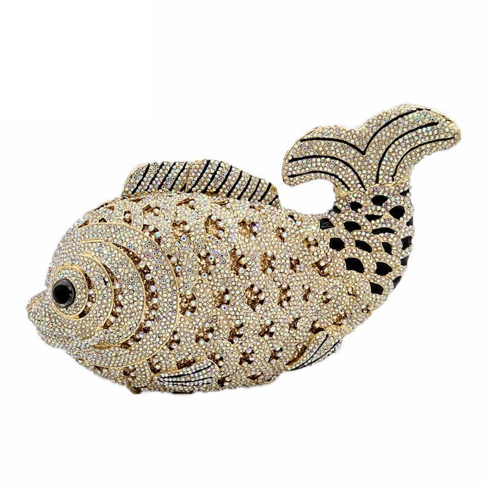 Dazzling 3D Fish Shape Women Crystal Clutch Evening Bags Wedding Cocktail Minaudiere Handbag (Gold)