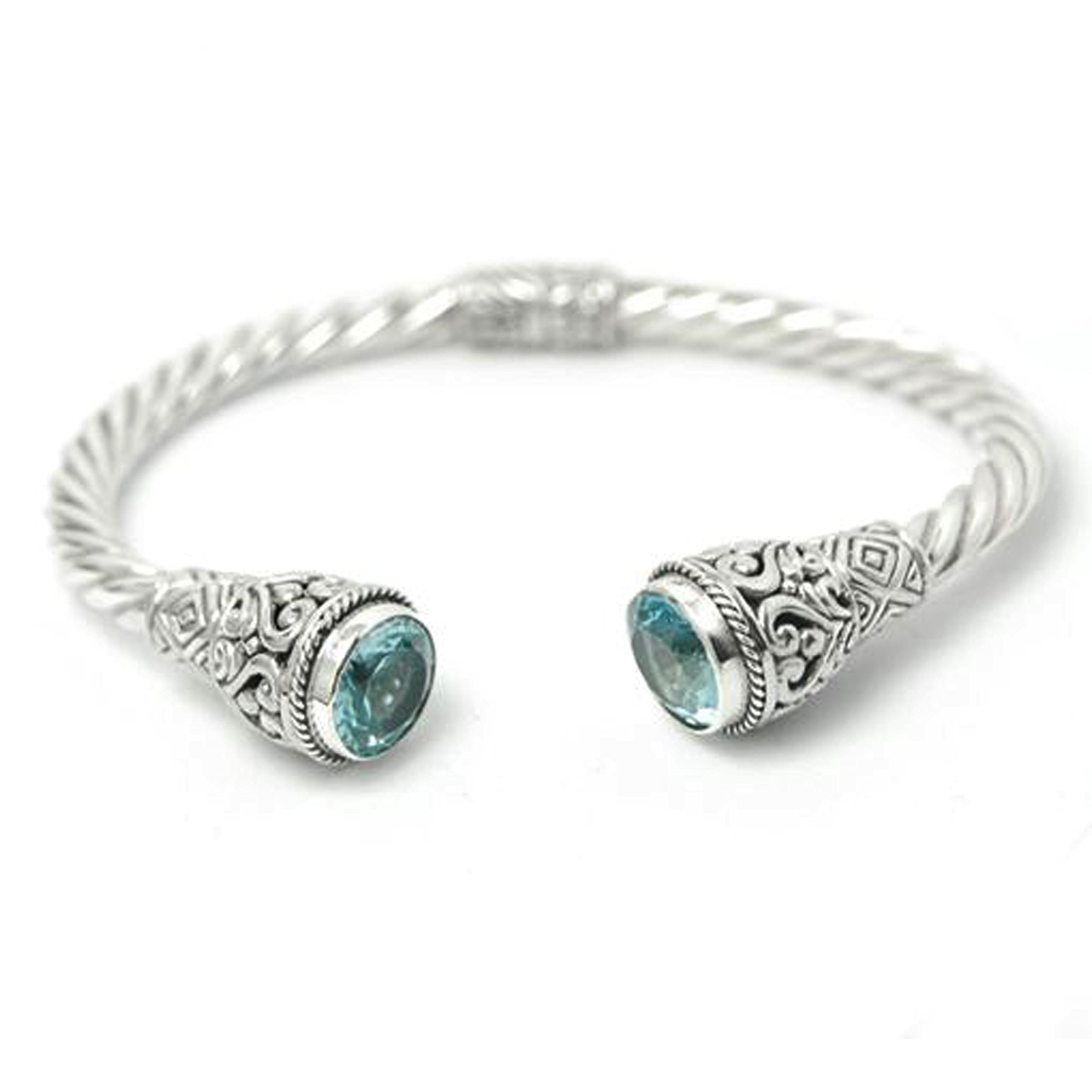BluSilver 925 Sterling Silver Hinged Twisted Cable Cuff Bracelet Filigree Semiprecious Stone End Caps (Blue Topaz)
