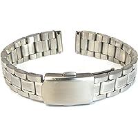 MapofBeauty Inoxydable Acier Brillant Métal Montre Bracelet Droit End Solid Links