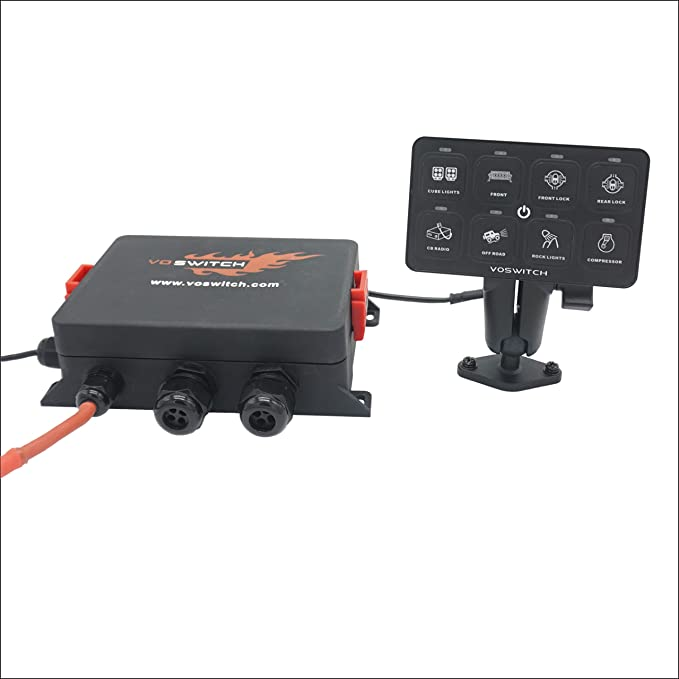 Yvoone-Auto 8 Gang Switch Panel Automatic Dimmable Universal Switch Panel Electronic Relay System Circuit Control Box On-Off Led Car Touch Switch Box for Truck ATV Utv Boat Marine SUV Car
