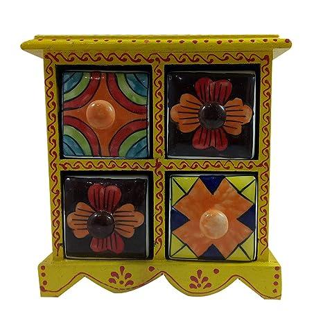 Hecho a mano de madera y cerámica pequeña cómoda de 4 cajones decorados organizador de joyas