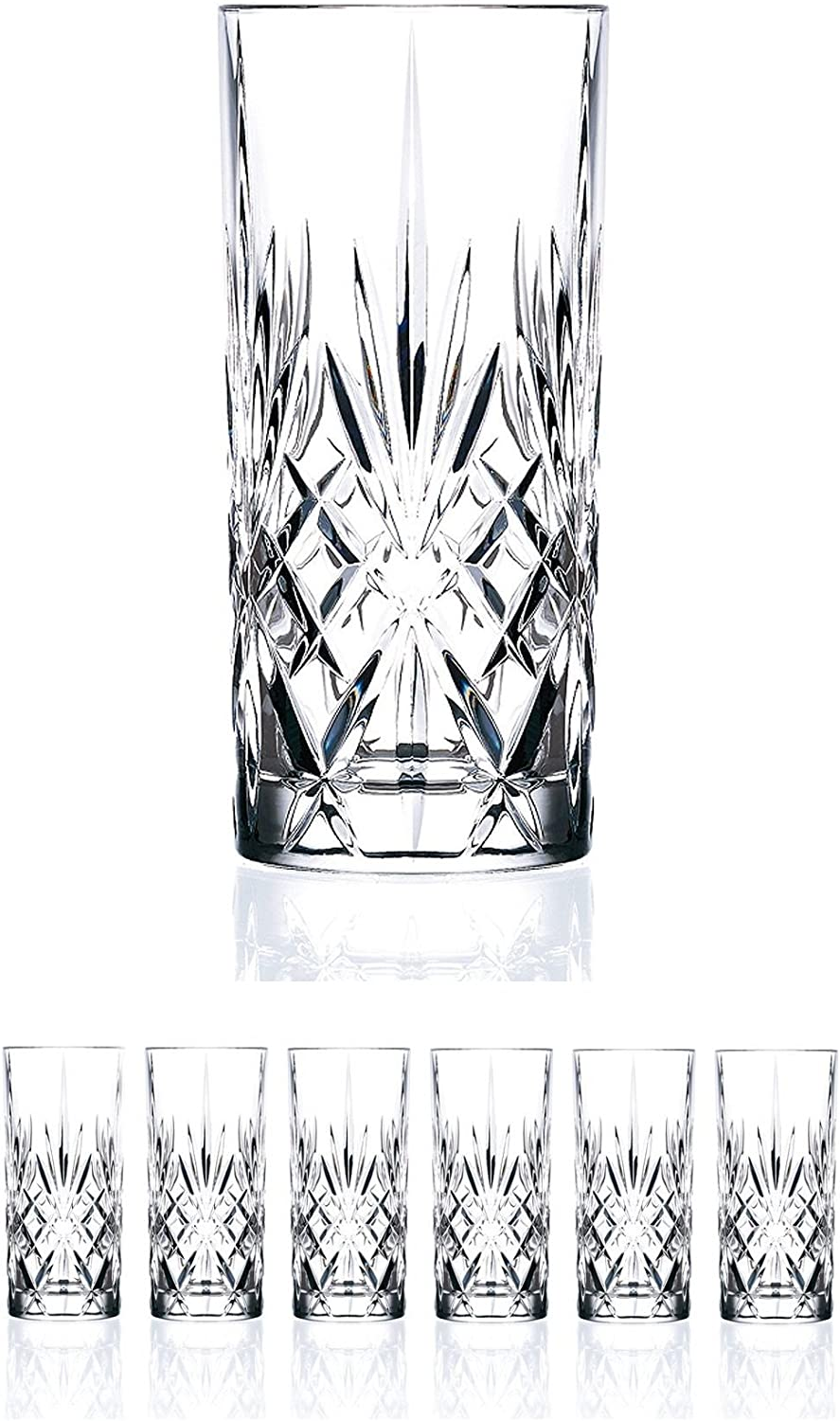 Set Of 6 Crystal Highball Durable Drinking Glasses Limited Edition Glassware Drinkware Cups Coolers 11oz Highball Glasses