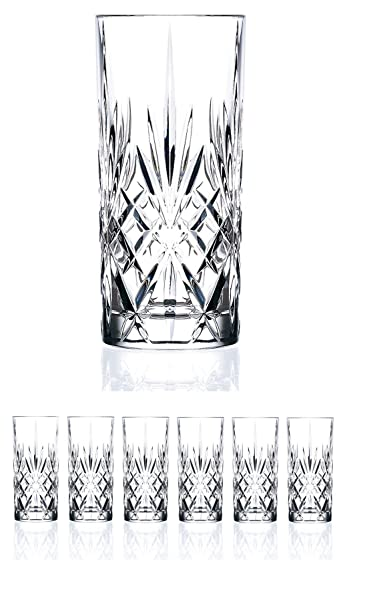 Elegant Le'raze Italian Crystal Highball Glasses - Set of 6