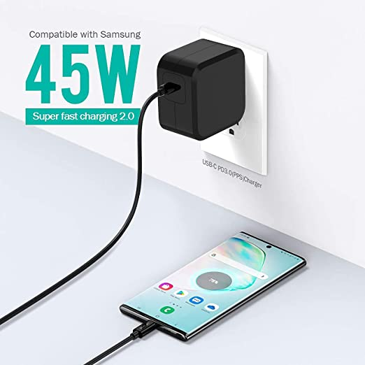 ELECJET 63W Total PD PPS Car Charger for Samsung Galaxy Note 10 Plus//Note 20 Ultra//S20 Ultra 5G//S21//A70//A71//Z fold 2 5g//M31s//Tab S7 Plus,45W 18W QC3.0 Dual Ports 45W USB C Super Fast Car Charger