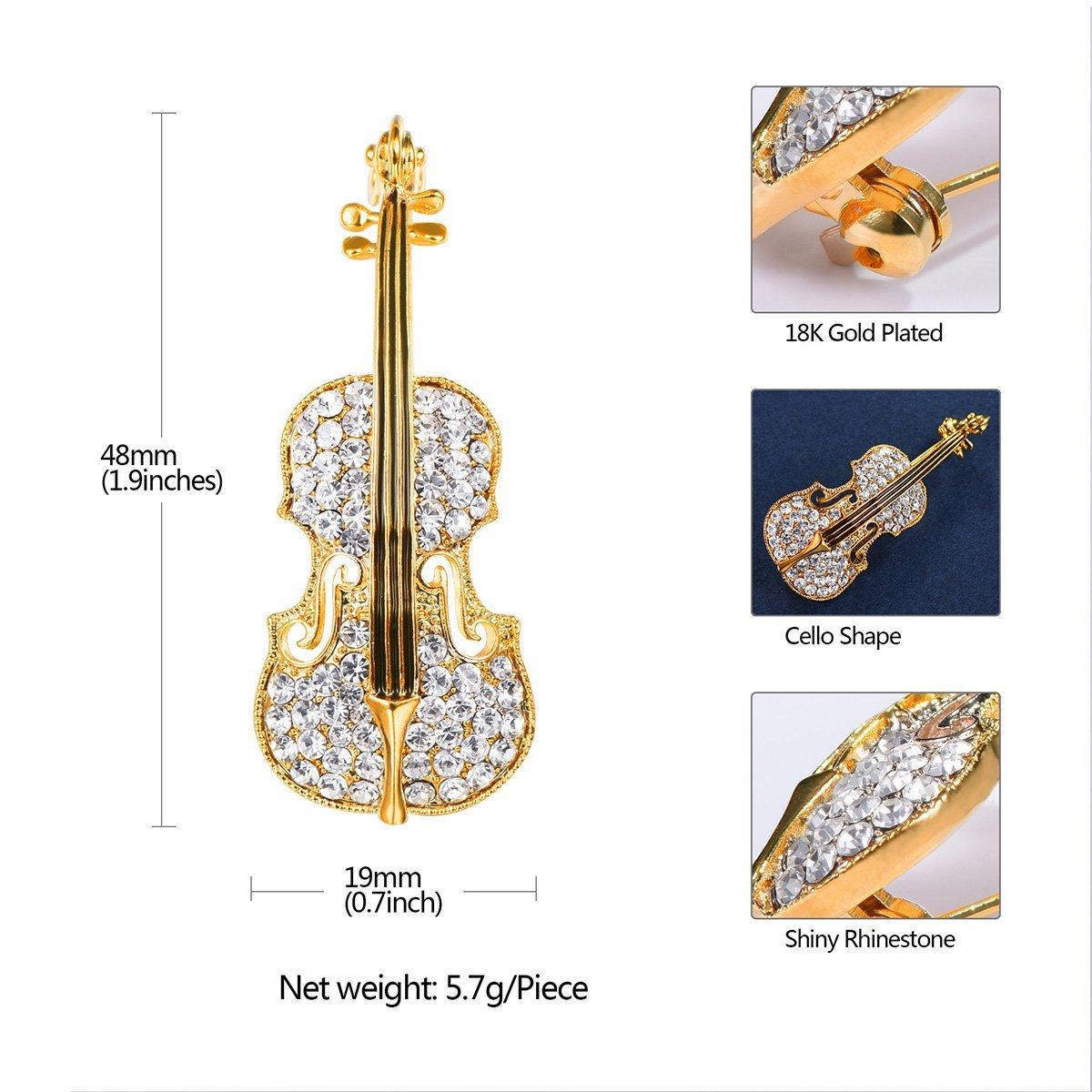 FOCALOOK Gold Plated Violin Brooch Women Elegant Crystal Rhinestone Brooch Fashion Charm Christmas Jewellery QD0jd