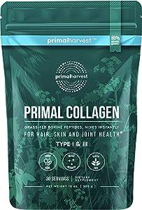 Primal Harvest - Collagen - Hydrolyzed Collagen Supplement - 30 Servings - Support Glowing Skin, Strong Bones & Joints, Balanced Gut & Liver Health