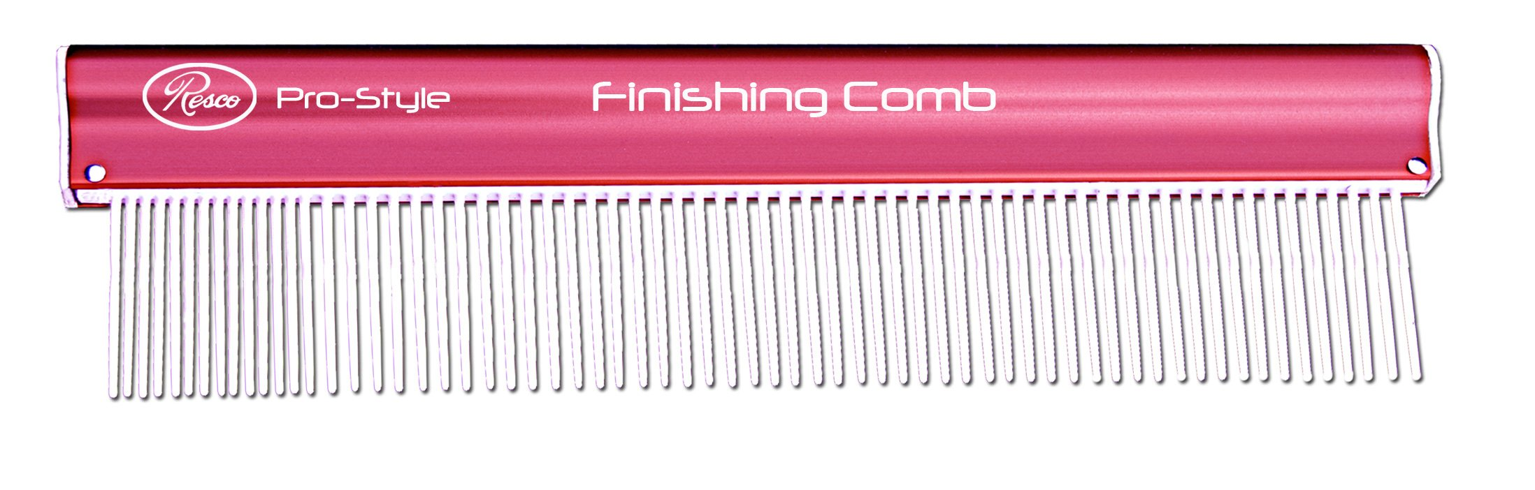 Resco Pro-Style 10'' Finishing Dog, Cat, Horse, Pet Comb for Grooming, Medium to Fine Pin Spacing, Pink