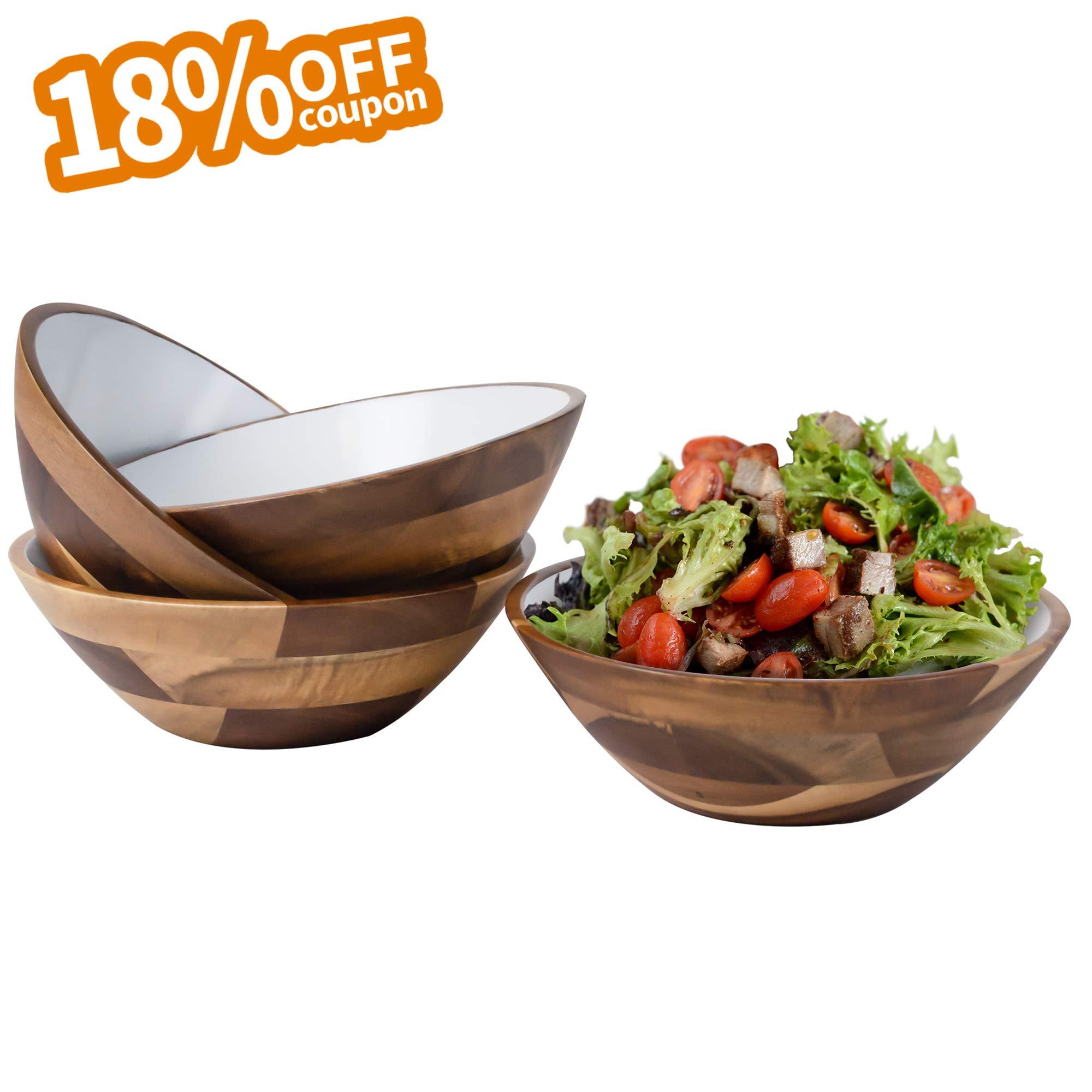 Aidea 7-Inch Acacia Wooden Salad Bowls - Set of 4 Bowls for Cereal Fruit Pasta, Acacia Wood Bowl Set,White