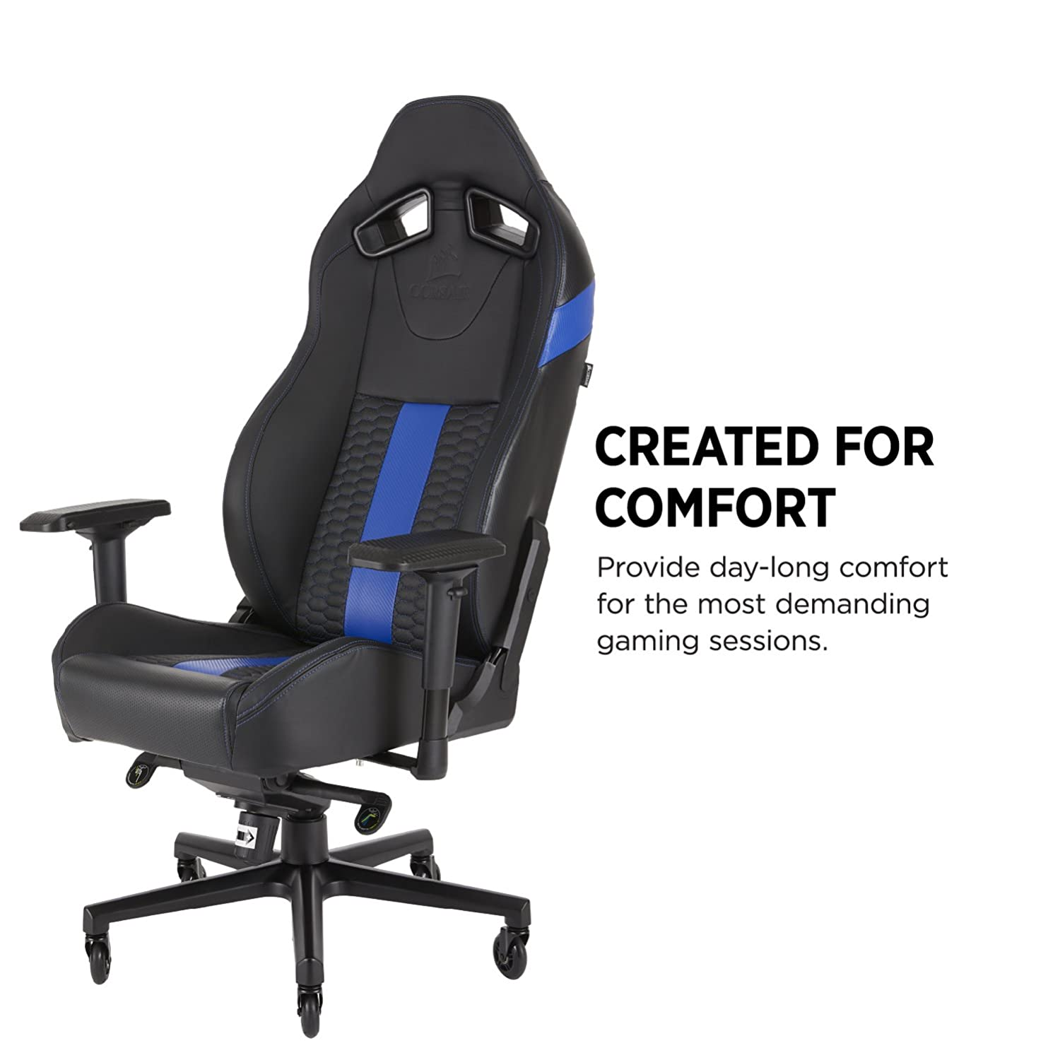 Corsair T2 Road Warrior Silla para Juegos, Polipiel, Azul, 88x69.5x37 cm: Amazon.es: Informática