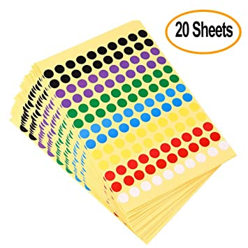 Kuuqa 8mm small round dot stickers self adhesive color sticky coding labels marking labels