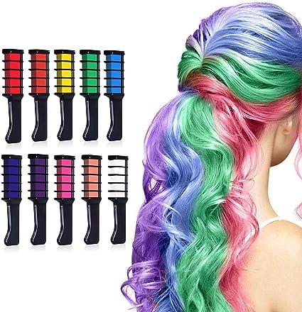 Gobesty - Peine de tiza para el pelo, juego de 10 brochas de tinte temporal para el cabello de las niñas y los niños
