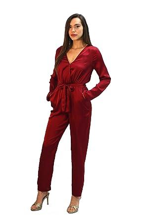 da8a72f6bcab Amazon.com  Wyldr Sophie Burgundy Satin Jumpsuit  Clothing