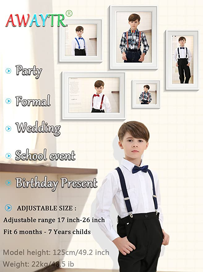 Baby Girl Boys Kids Adjustable Suspender Bow Tie Matching Set Wedding Formal