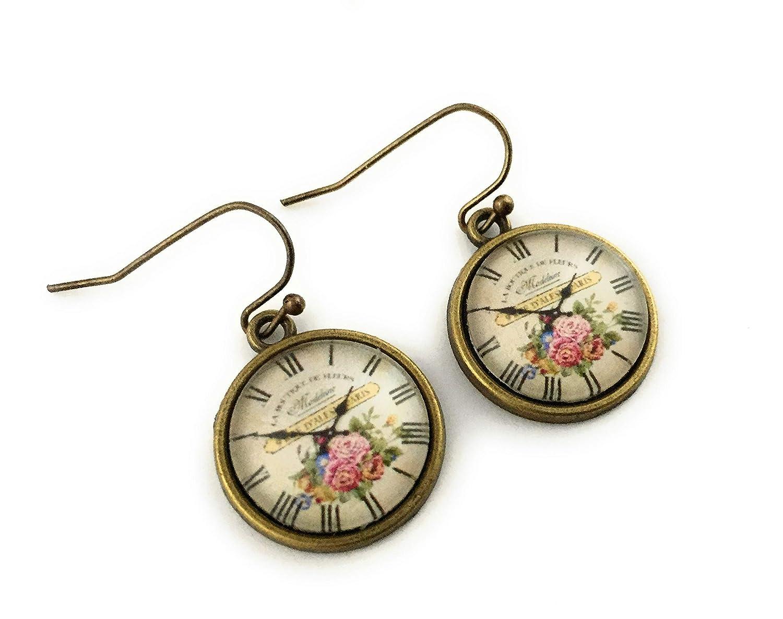 Handmade Vintage Style Clock Face Earrings