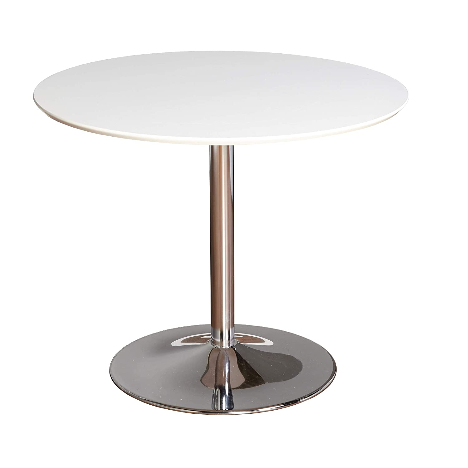 "TMS 89017WHT PISA Modern Retro Round Dining Table, 35.4"" W, White"
