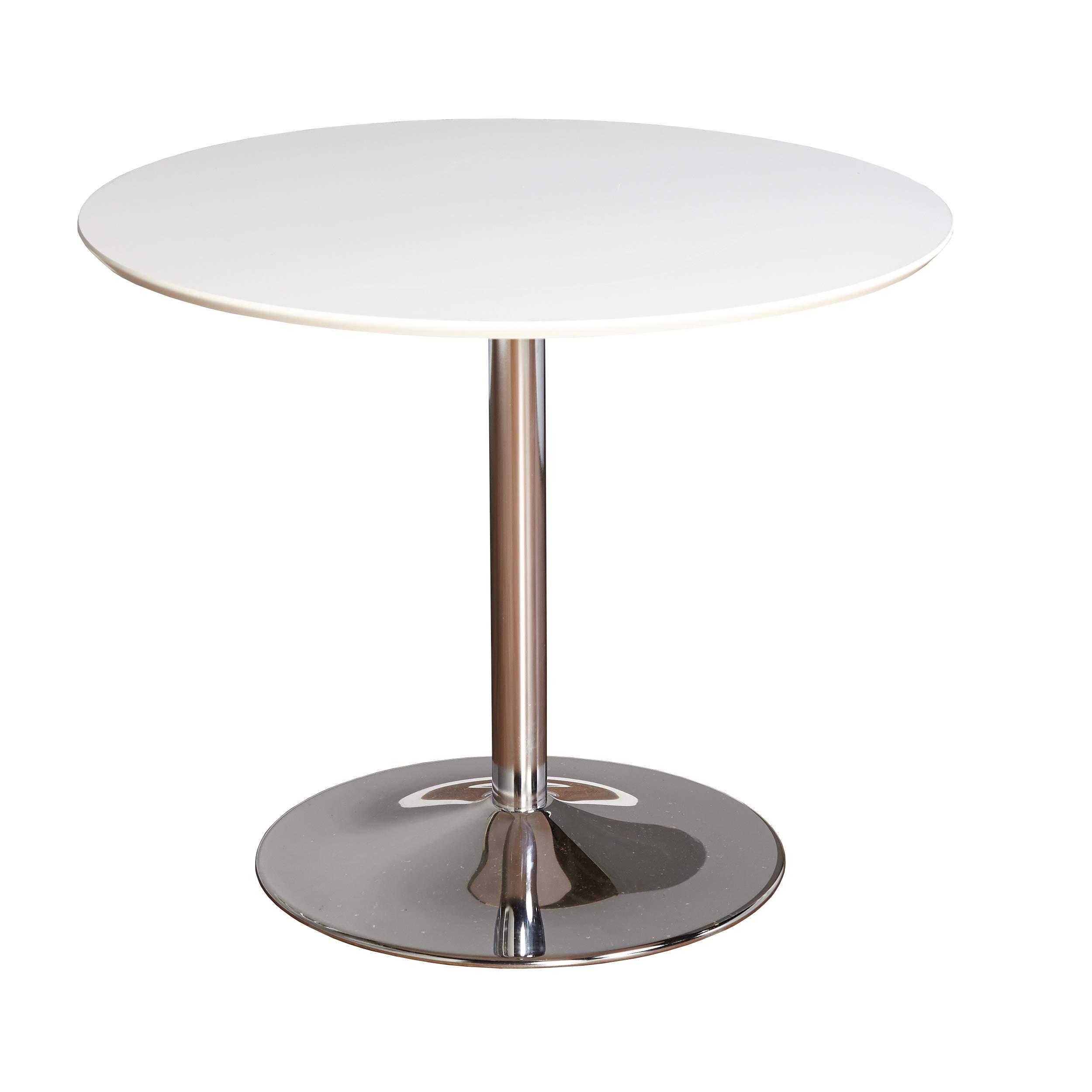 TMS 89017WHT PISA Modern Retro Round Dining Table, 35.4'' W, White