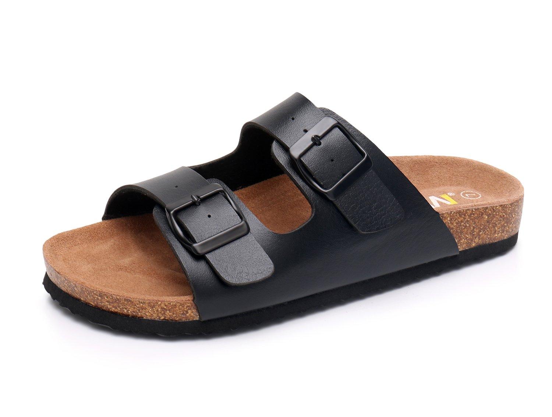WTW Women's Arizona 2-Strap Cork Footbed Sandals (US 9, Black)