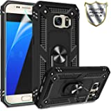 Galaxy S7 Phone Case, Galaxy S7 Case with HD Screen Protector,Gritup 360 Degree Rotating Metal Ring Holder Kickstand Armor Anti-Scratch Bracket Cover Phone Case for Samsung Galaxy S7 Black