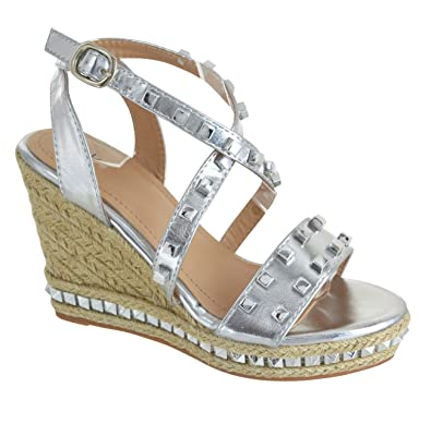 ef8abd39b EYESONTOES Ladies Womens High Wedge Sandals Platform Stud Studded  ESPERDRILLES Shoes Size  Amazon.co.uk  Shoes   Bags