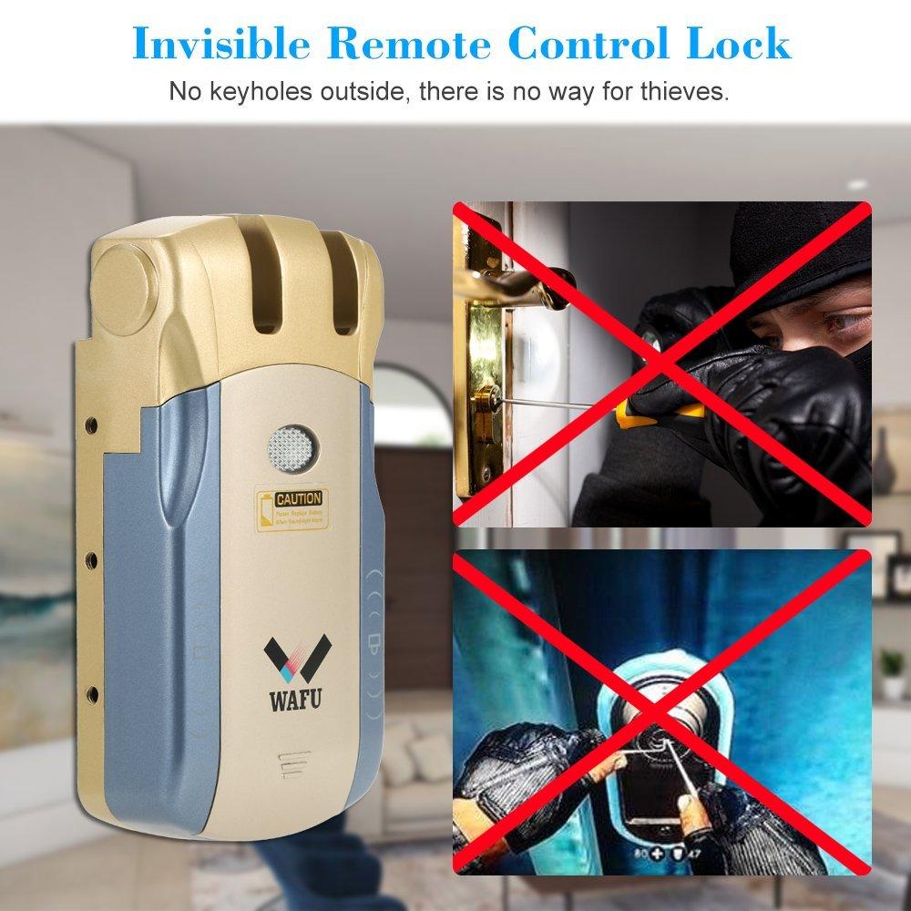 WAFU WF-010U Cerradura Inalámbrica Inteligente Cerradura Invisible Cerradura Control Remoto Desbloqueo de iOS Android APP con 4 Control Remotos, ...