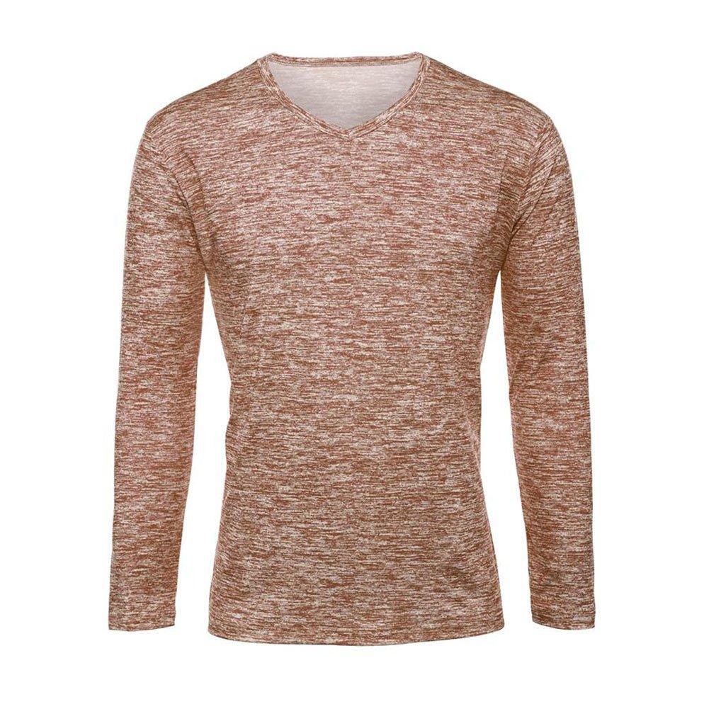 ShallGood Uomo T-Shirt con Maniche Lunghe Scollo A V Tops Casual Tinta Unita Slim Fit Aspetto Miscelazione del Colore Shirts Tops