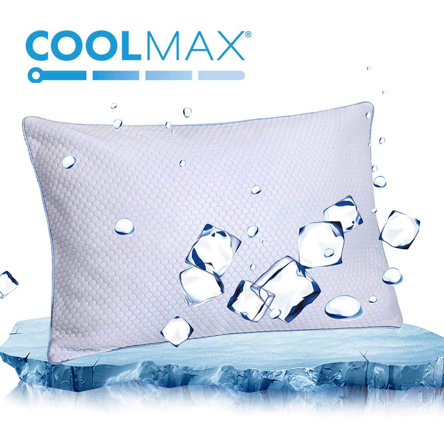 Cooling Shredded Memory Foam Bed Pillow for Sleeping- Adjustable to Thick Thin - Pillow for Side Back Sleepers with Cool Breathable Cotton Case - Soft Firm Support for Therapeutic Neck Pain,Queen Size by homentality