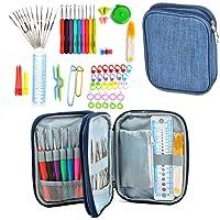 Aeoss 72Pack Ergonomic Crochet Kit, Painless Soft Grip Crochet Hooks 2-6mm, Aluminum Knitting Needle 0.6-1.9mm, Complete Accessories with Double Zipper Case