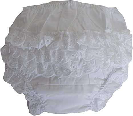 Infant Girls Nappy Cover Pants Soft Touch Baby Girls Ivory Satin Frill Back Knickers Ivory
