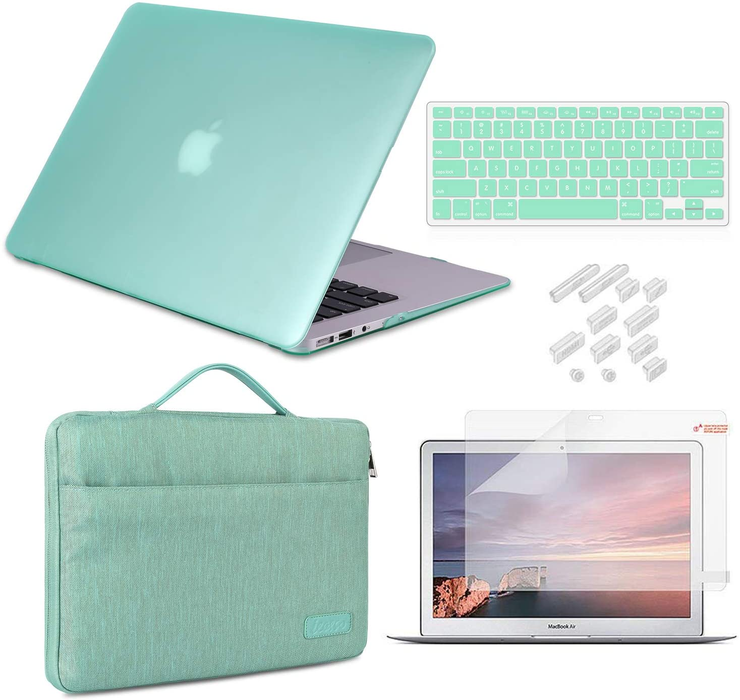 MacBook Air 13 Inch Case 2010-2017 Release Model A1369/A1466 Bundle 5 in 1, iCasso Hard Plastic Case, Sleeve, Screen Protector, Keyboard Cover & Dust Plug Compatible Old MacBook Air 13'' - Mint Green