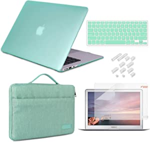 MacBook Pro 13 Inch Case 2019 2018 2017 2016 Release A2159/A1989/A1706/A1708, iCasso Hard Plastic Case, Sleeve, Screen Protector, Keyboard Cover & Dust Plug Compatible MacBook Pro 13'' - Mint Green