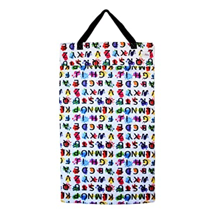 Large Hanging Wet Dry Bag for Cloth Diapers or Laundry (Abc) by ...
