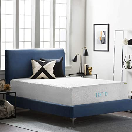 LUCID 16 Inch Plush Gel Memory Foam and Latex Mattress – Four-Layer – Infused with Bamboo Charcoal – Natural Latex and CertiPUR-US Certified Foam – 10-Year U.S.Warranty – Queen