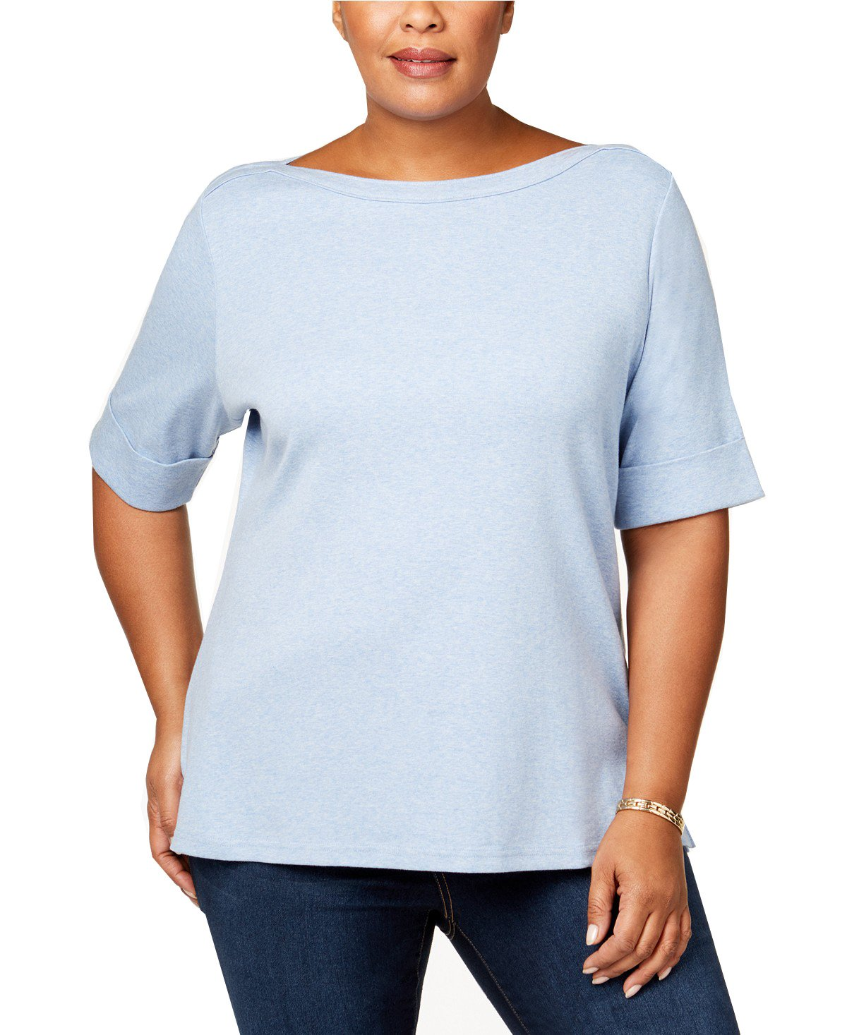 Karen Scott Womens Plus Heathered Cuff Sleeves T-Shirt Blue 2X