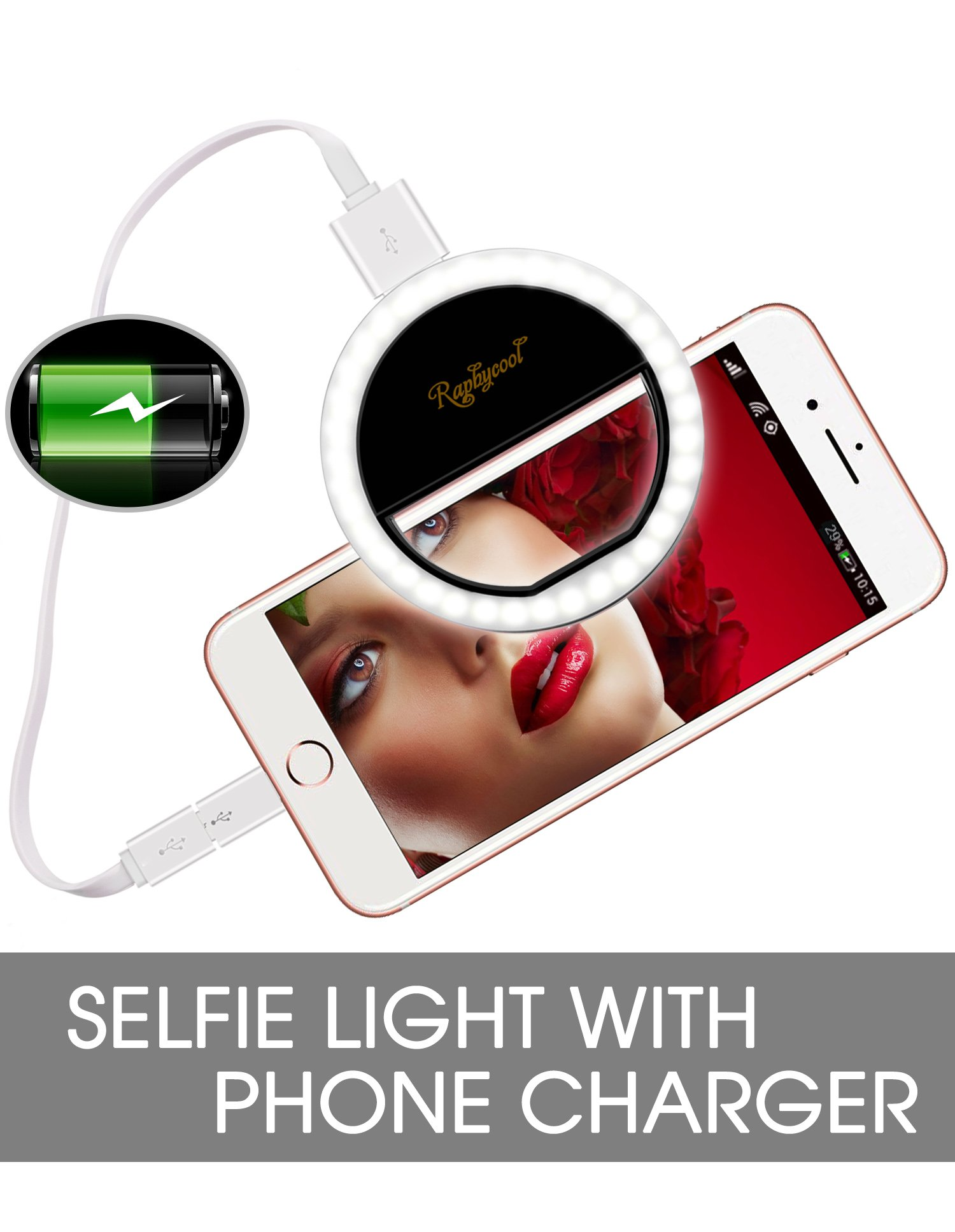 Raphycool Selfie Light Ring Lights 36 LED Circle Light Clip-On Phone Charger 1500mAh Power Bank Rechargeable Compatible with Cell Phone Laptop Camera Photography Video Lighting Black