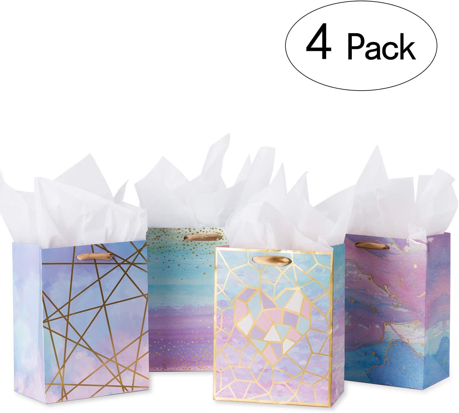Feste Loveinside Sacchetti Regalo di Medie Dimensioni-Coloful Borsa Regalo in Marmo con Carta Velina per Shopping Baby Shower Craf-4 Pack-18 X 23 X10CM Matrimonio