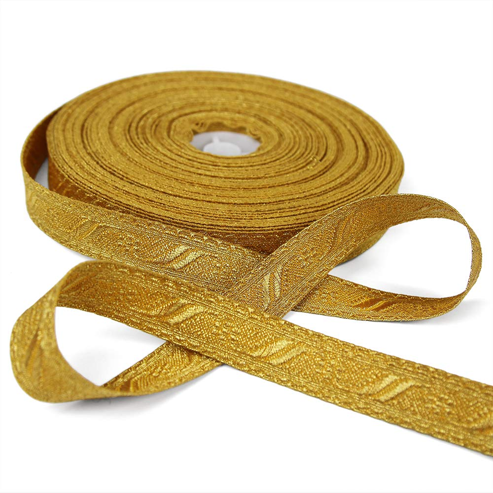 5 Yards of Florence 3/4'' Wide Military-Style Bullion Braid Trim, Yellow Gold by Bias Bespoke